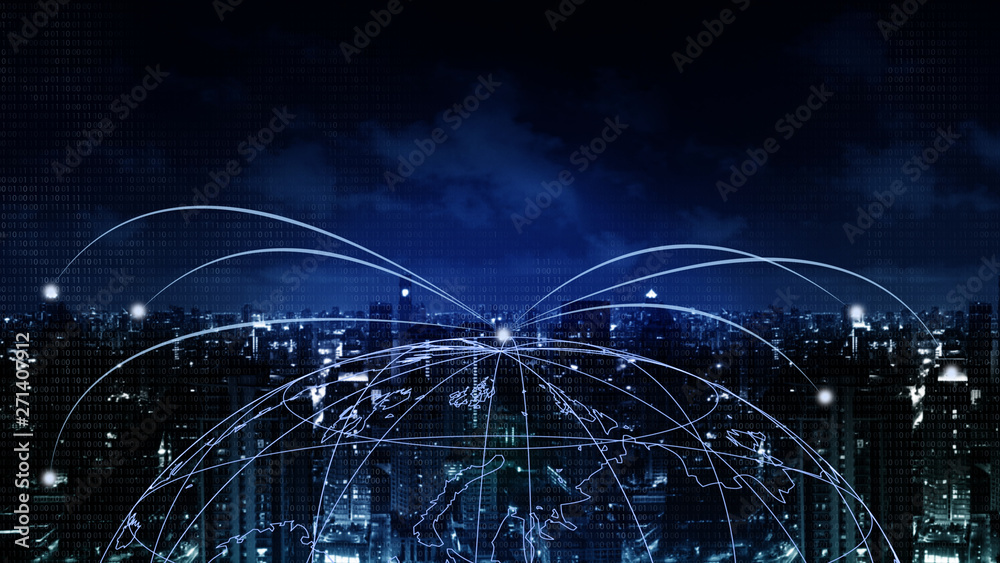 Fototapeta Abstract Background financial digital technology network communication connect people globally with blockchain networking, digital banking fintech transaction Elements of this image furnished by NASA