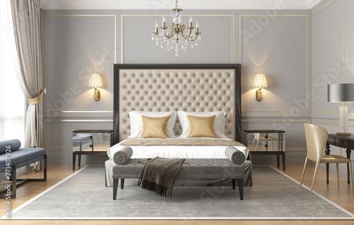 Foto auf Leinwand Texturen 3d rendering of an elegant luxury grey beige Parisian bedroom
