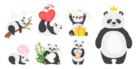 Fototapeta Panda Cute panda bears flat vector illustrations set