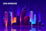 Fototapeta Miasto - Los Angeles skyline with neon illumination. Night city architecture, modern megapolis with glowing skyscrapers near waterfront, old film with lines and pixel noise effect. Cartoon vector illustration