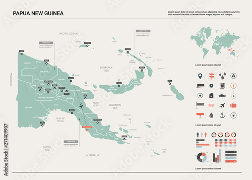 Fotomural Vector map of Papua New Guinea