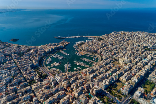 Aerial drone panoramic photo of Piraeus and Marina of Zea (pasalimani) in daylight, Attica, Greece Canvas Print