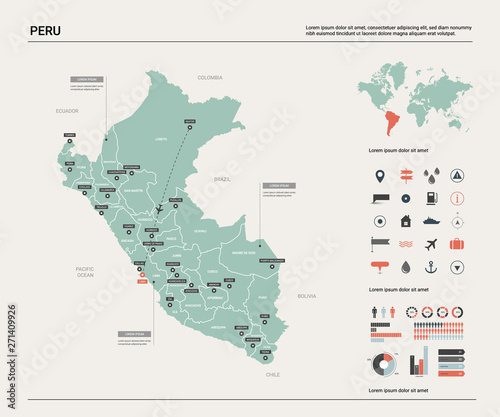 Vector map of Peru. Country map with division, cities and ...