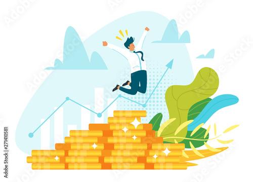 Profitable investment, funding flat vector illustration Poster Mural XXL