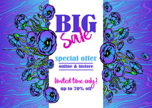 Big Sale Flayer Template For Web And Print With Neon Waves Marble Pattern Background In Purple Blue Colors. Creative Vector Design, Elegant With Poppy Flowers Concept