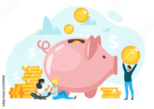 People putting savings in piggy bank vector illustration Fotobehang