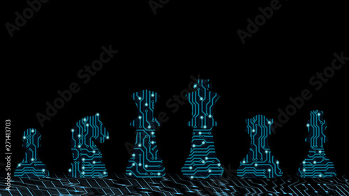 Fototapeta Abstract background of digital ai leadership strategy innovation planning. Plan for future business competition using blue chess set King , queen and horse to present business war game concept obraz