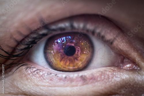 Poster Iris Macro eye photo with purple orange cornea