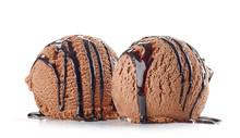 Chocolate Ice Cream On White Background