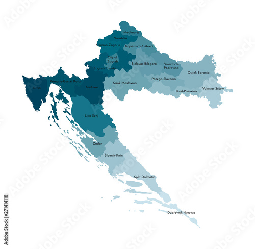 Fotografie, Obraz Vector isolated illustration of simplified administrative map of Croatia