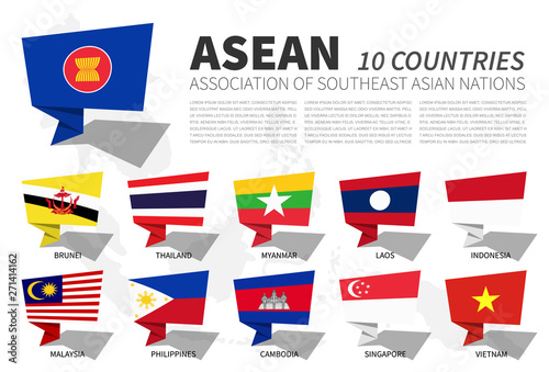 Leinwand Poster  ASEAN flag and membership on southeast asia map background