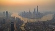 Aerial timelapse hyperlapse with pan Left to Right camera movement, video of central area of Shanghai in sunset, lujiazui distinct, Shanghai, China, 4k video