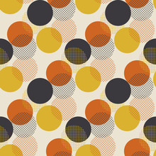 Geometric Circle Dot Seamless Pattern Vector Illustration In Retro 60s Style. Vintage 1970s Ball Shapes Abstract Motif In Hot Orange And Yellow Colors For Carpet, Wrapping Paper, Fabric, Background..