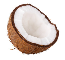 Half Coconut Isolated On White...