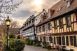 medieval road and buildings in hoechst, Frankfurt, germany