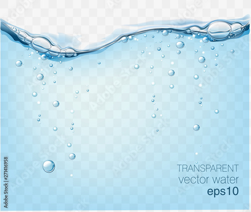 Water vector wave transparent surface with bubbles of air Wall mural
