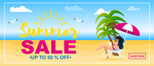 Summer Sale Up To 50 Percent Discount Flat Banner