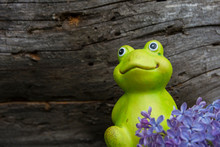Decorative Frog In The Garden. Ceramic Figurine Of A Green Frog