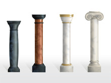Antique Columns Set. Ancient Stone Or Marble Classic Ornate Pillars Of Different Colors And Textures Isolated On White Background. Roman Or Greece Facade Decoration. Realistic 3d Vector Illustration