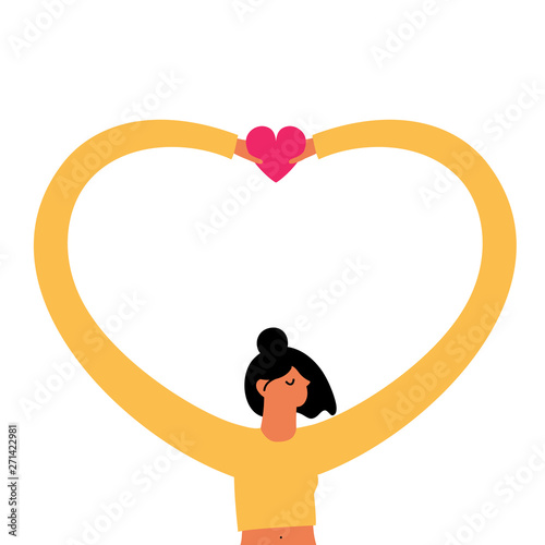 Cuadros en Lienzo Vector illustration with young woman holding pink heart