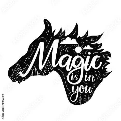 Photo  Vector illustration with horse black silhouette head and lettering text - Magic is in you