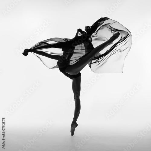 A ballerina dances with a black cloth Wallpaper Mural