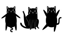 Vector Illustration With Black Cats. Cute Animal Collection With Vintage Texture