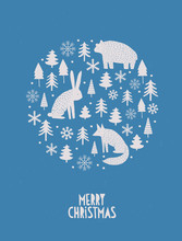 Scandinavian Style Merry Christmas Vector Card. Beige Christmas Trees, Fox, Hare And Bear Isolated On A Blue Background. Simple Handwritten Wishes. Lovely Infantile Style Holiday Vector Illustration.