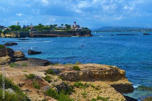 Tuinposter Turkoois Rocks Sicily beach