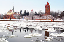 Cityscape Of Tangermuende In Winter Time With Ice On Elbe River.