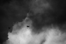 Helicopter Fighting Wildfires In Southern California Black And White