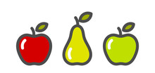 Red And Green Apples And Pear Fruit Icons.