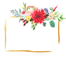 Bright Wedding Bridal Romanric Frame Wreath. Hand Drawing Watercolor Red And Purple And Green Flowers Ornament