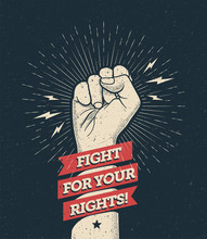 Raised Protest Arm Fist With F...