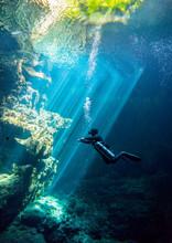 Underwater Cenote El Pit Yucatan Mexico