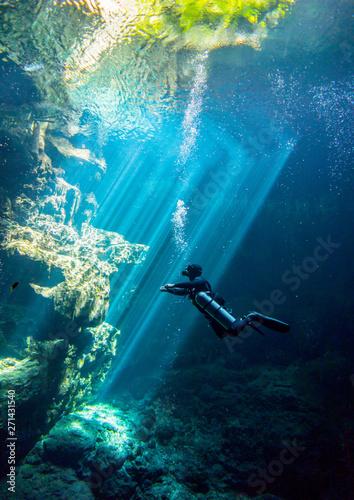 Underwater Cenote el Pit Yucatan Mexico Wall mural