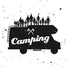 Outdoor Camping Vector Emblem With Camper Van