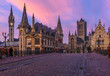 canvas print picture - Medieval city of Gent (Ghent) in Flanders with Saint Nicholas Church and Gent Town Hall, Belgium. Sunset cityscape of Gent.