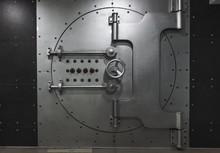 Closed Steel Bank Vault Door, Close-up. Bank Vault.