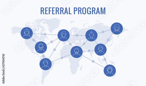 Fototapeta Worldwide referral program, network marketing, business partnership, referral program strategy. Flat cartoon design, vector illustration on white background obraz