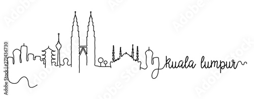 Kuala Lumpur City Skyline Doodle Sign Wallpaper Mural