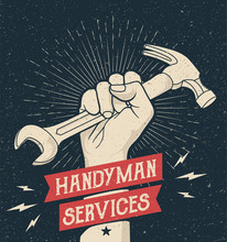Hand Drawn Styled Illustration Of The Fist Holding Wrench And Hummer. Emblem For Handyman Services With Grunge Background. Vector Illustration