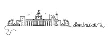 Dominican Republic City Skyline Doodle Sign