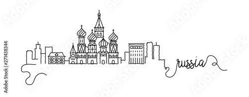 Fotografía  Russia City Skyline Doodle Sign