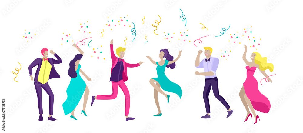 Fototapety, obrazy: Group of smiling young people or students in evening dresses and tuxedos, happy Jumping and dansing. Prom party, prom night invitation, promenade school dance concept. Vector illustration concept