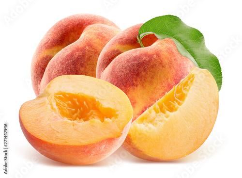 Obraz na plátně peaches isolated on a white background