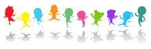 Cute Kids Playing Jumping Colorful ,Child Silhouettes Dancing, Children Silhouettes Jumping On White Background Vector Illustration