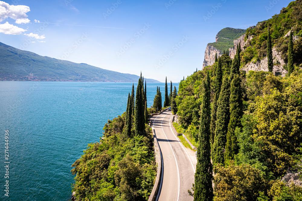 Fototapeta Gardesana Road near Limone sul Garda. Garda Lake, Lombardy, Italy