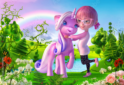 Obraz na płótnie Cheerful smiling cartoon girl playing and hugging magical unicorn baby in the fairy landscape