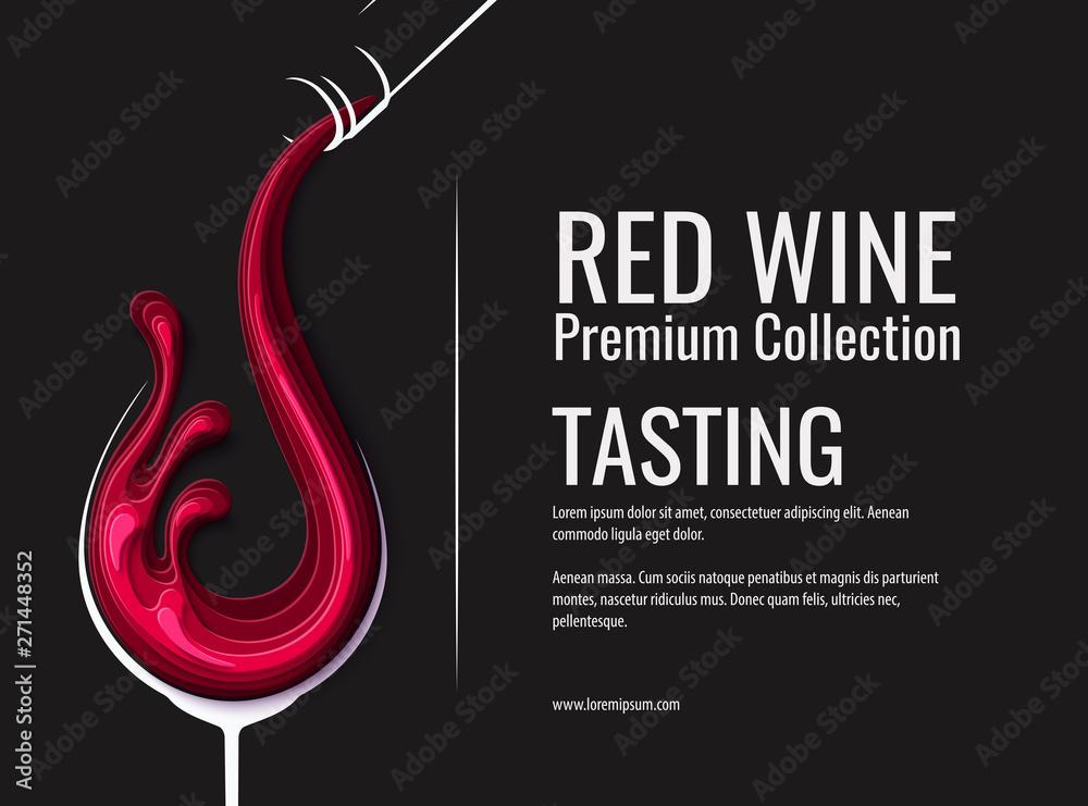 Fototapeta Red wine splash in wine glass with bottle
